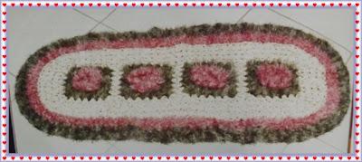 Tapete de crochê em barbante com flor, passo a passo e gráfico