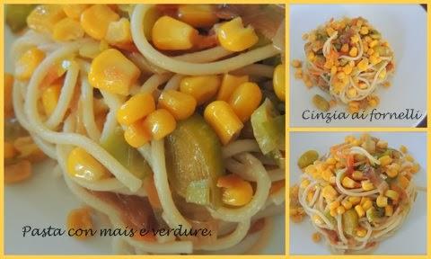 spaghetti mais e verdure