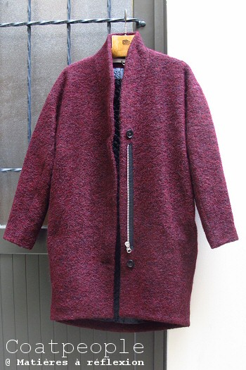 Manteau laine bordeaux chiné Coatpeople