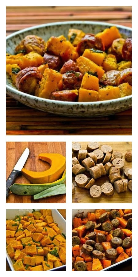 Recipe for Roasted Winter Squash and Sausage with Herbs found on KalynsKitchen.com