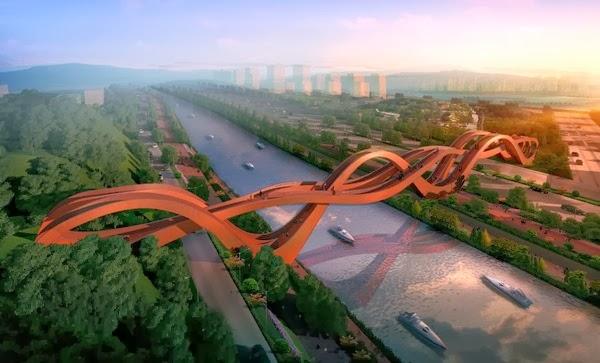 JAMBATAN ini bakal menjadi jambatan beralun terbesar di dunia yang diilhamkan oleh tiga arkitek tempatan di China.