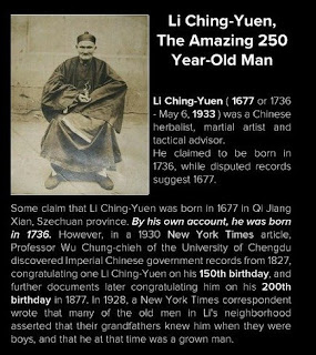 Li Ching - Yuen from China lived 256 years. In a 1930 New York Times article, Professor Wu Chung-chieh of the University of Chengdu found Imperial Chinese government records from 1827, congratulating Li Ching-Yuen on his 150th birthday.