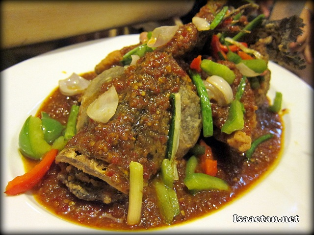 Deep Fried Seabass (whole fish) with Spicy Assam Sauce - RM44.90