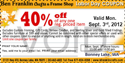Ben franklin crafts and frame shop labor day savings for Ben franklin craft store coupons