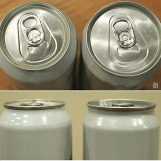 Standard Aluminum Can Design (left) and IDEO Can Design Concept for Sam Adams (right)