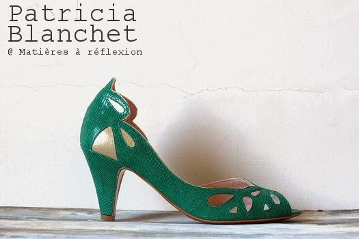 Escarpins verts d'été Patricia Blanchet ajouré motif art déco Findouce