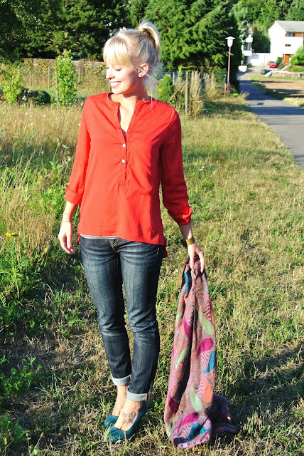 PersunMall blouse, Charlotte Russe jeans, Charlotte Russe green pumps, scarf, staycation, Germany, living abroad, living in Germany