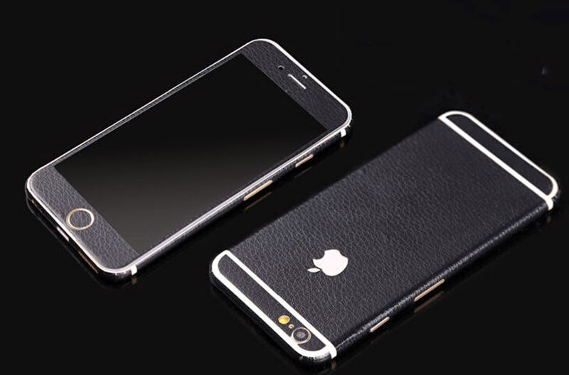 "Black Leather wrap Skin Decal Sticker body cover Case for iPhone 6 4.7""/5.5"""