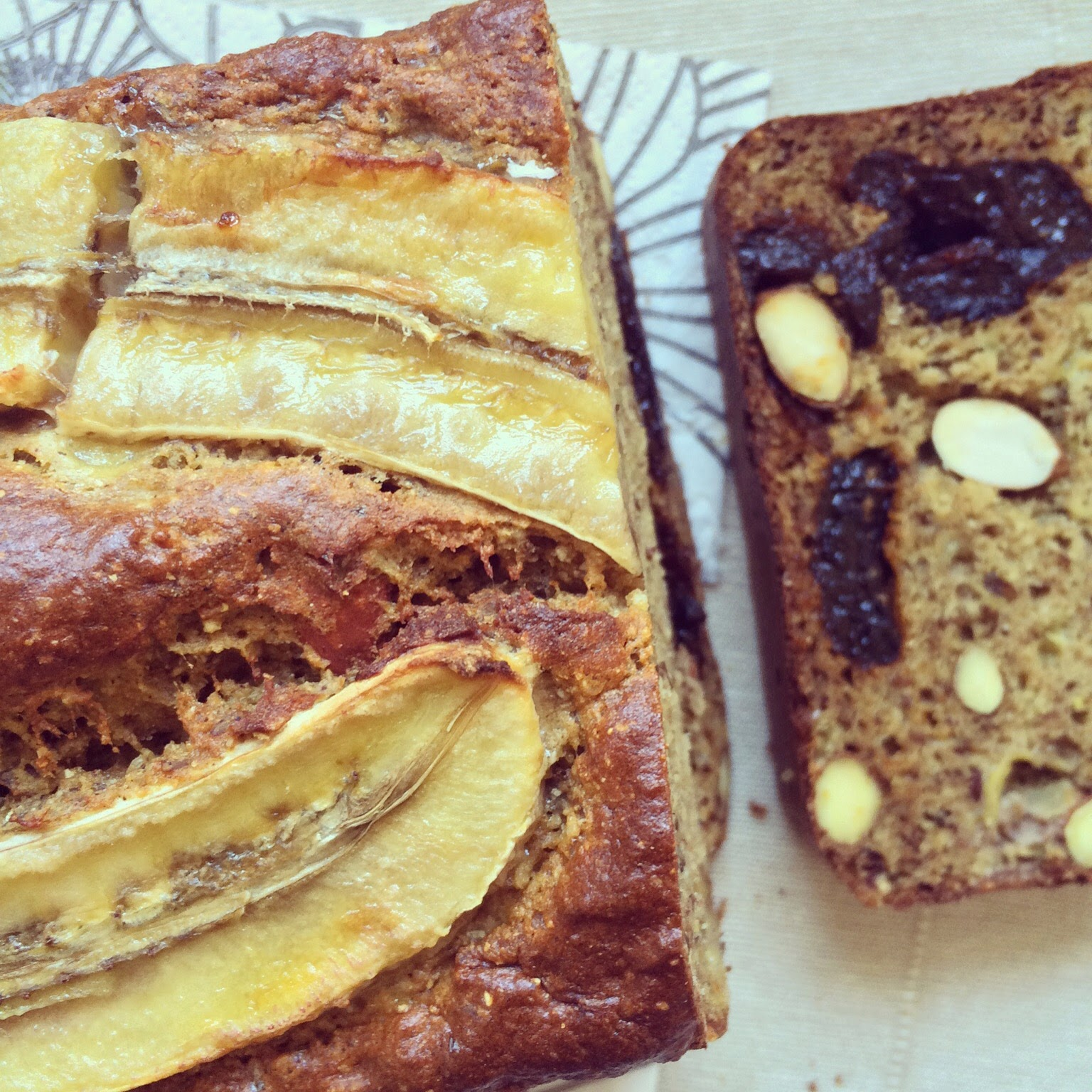 pain bananes amandes pruneaux protéiné