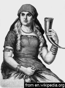 Dibujo de mujer con jarra de cuerno