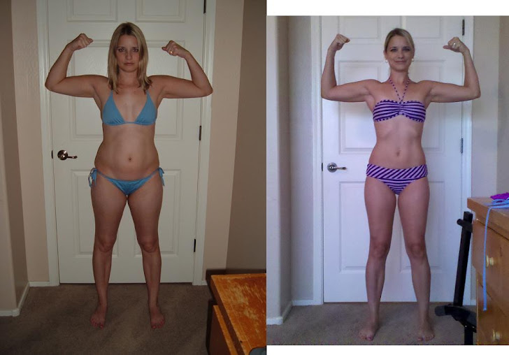 P90X Before and after results from a woman