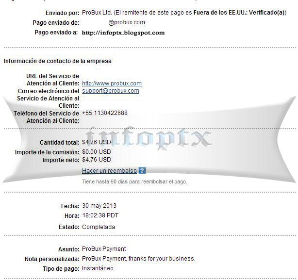 1º pago de probux $4.76 Probux-1p