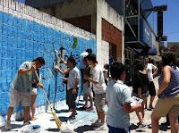 Mural y volanteada de compañeros de Integra en Vicente López
