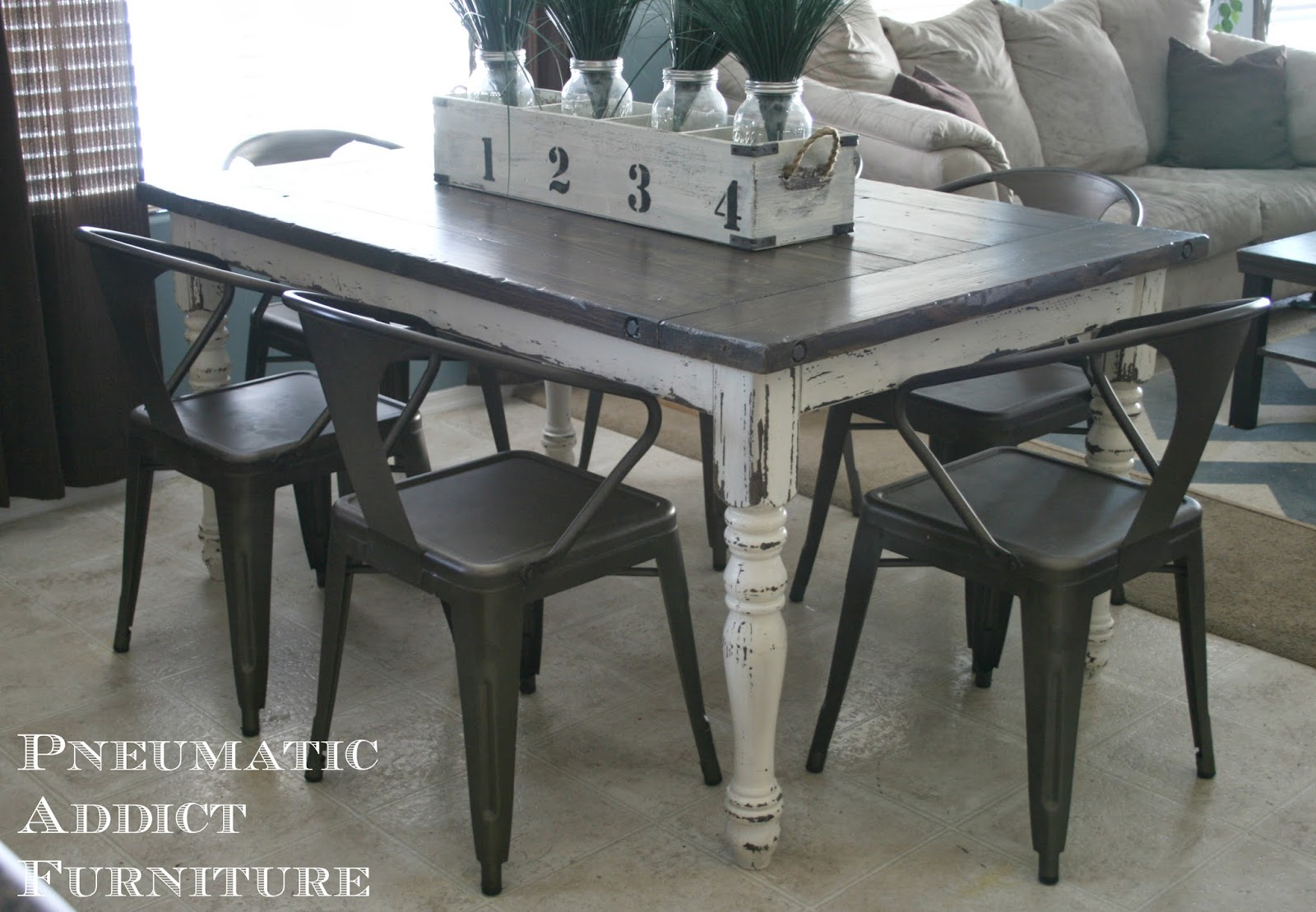 Pneumatic Addict Industrial Farmhouse Table