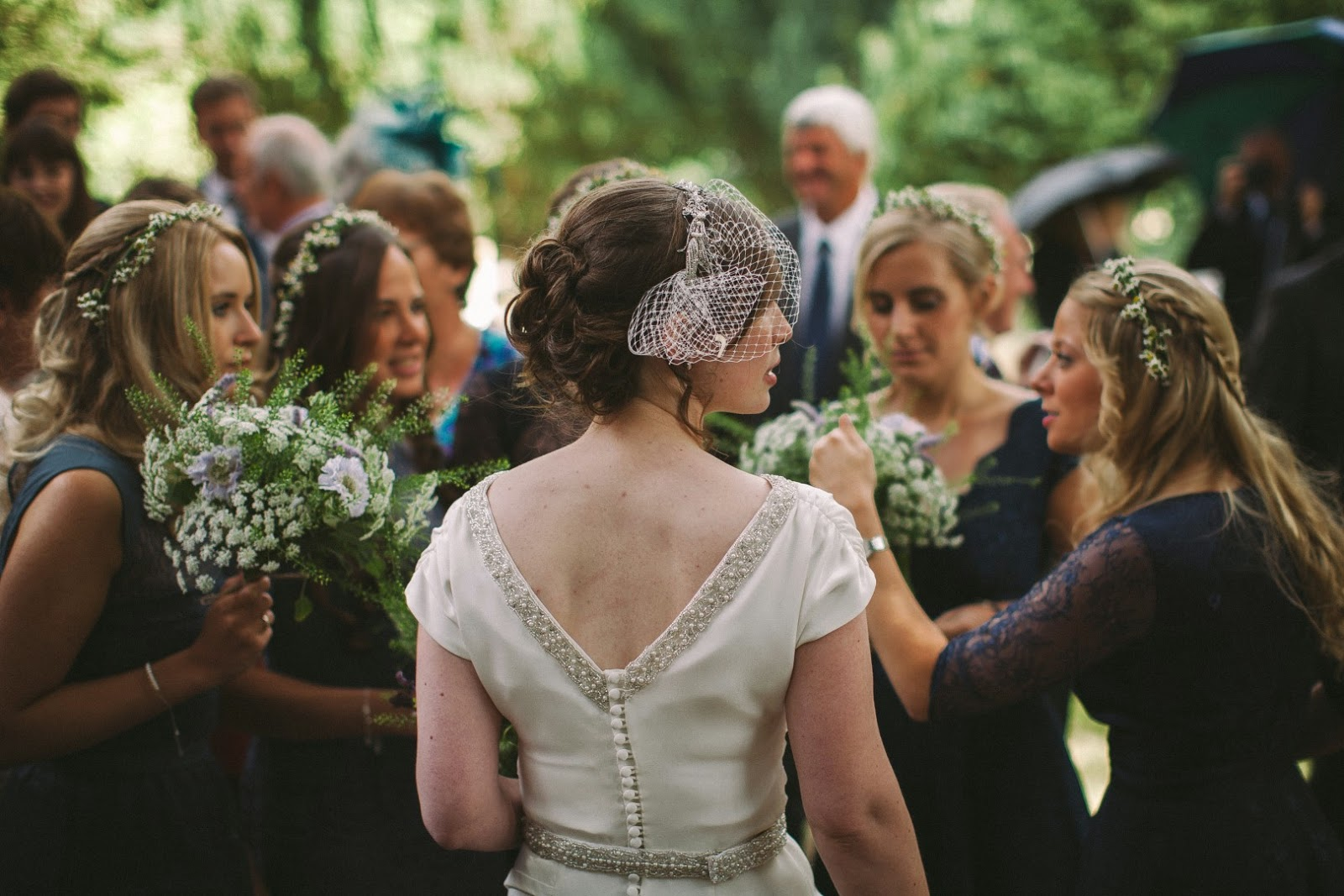 Real vintage bride Susie talks with the bridesmaids, Heavenly Vintage Brides Wedding Blog