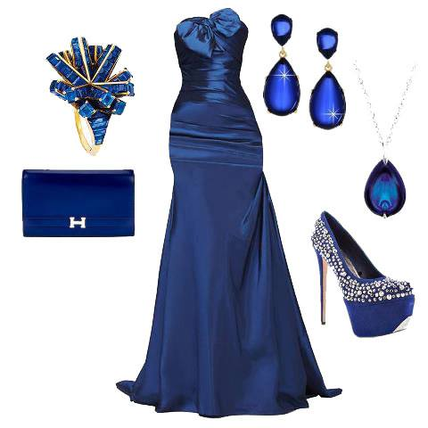 Dark blue wedding gown, purse, ear rings and high heel sandals for ladies