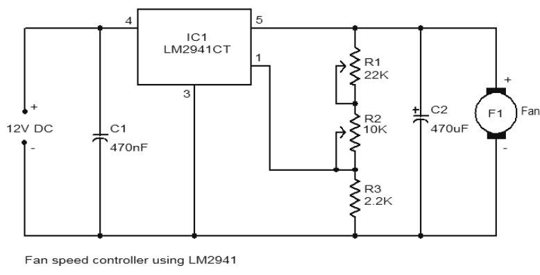 12V DC Fan speed controller using LM2941