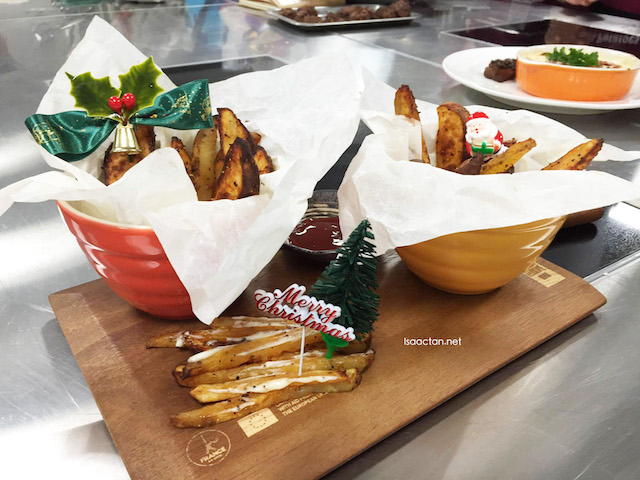 Ours, baked Christmas themed Potato Wedges