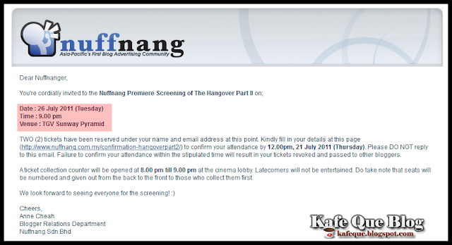 premiere screening The Hangover part 2 nuffnang,filem the hangover part II,sinopsis The hangover part 2,nuffnang premiere screening tickets,tiket percuma the hangover part 2,trailer the hangover part II
