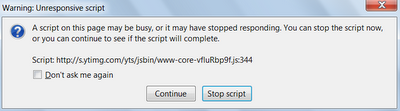 How to fix unresponsive script error