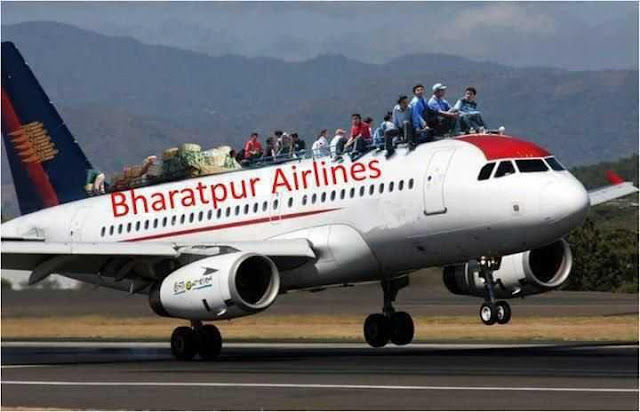 People Travelling on Top of Aeroplane of BharatPur Airlines