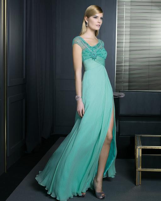 2014 yeşil renk abiye modeli , bacak yırtmaçlı, transparan askılı