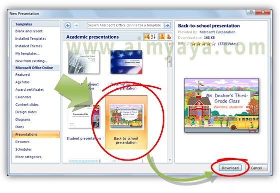 Cara download template powerpoint dari microsoft cara aimyaya gambar cara memilih template powerpoint yang akan di download untuk digunakan dalam presentasi toneelgroepblik Choice Image