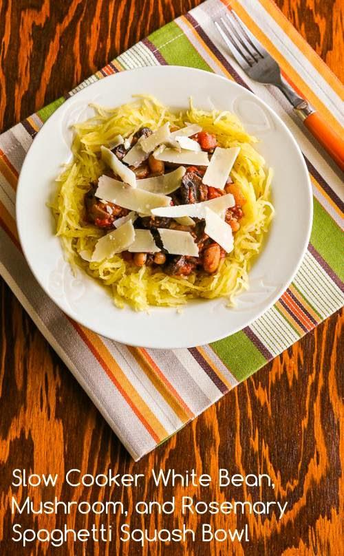 white bean and mushroom ragout, served in a bowl over spaghetti squash