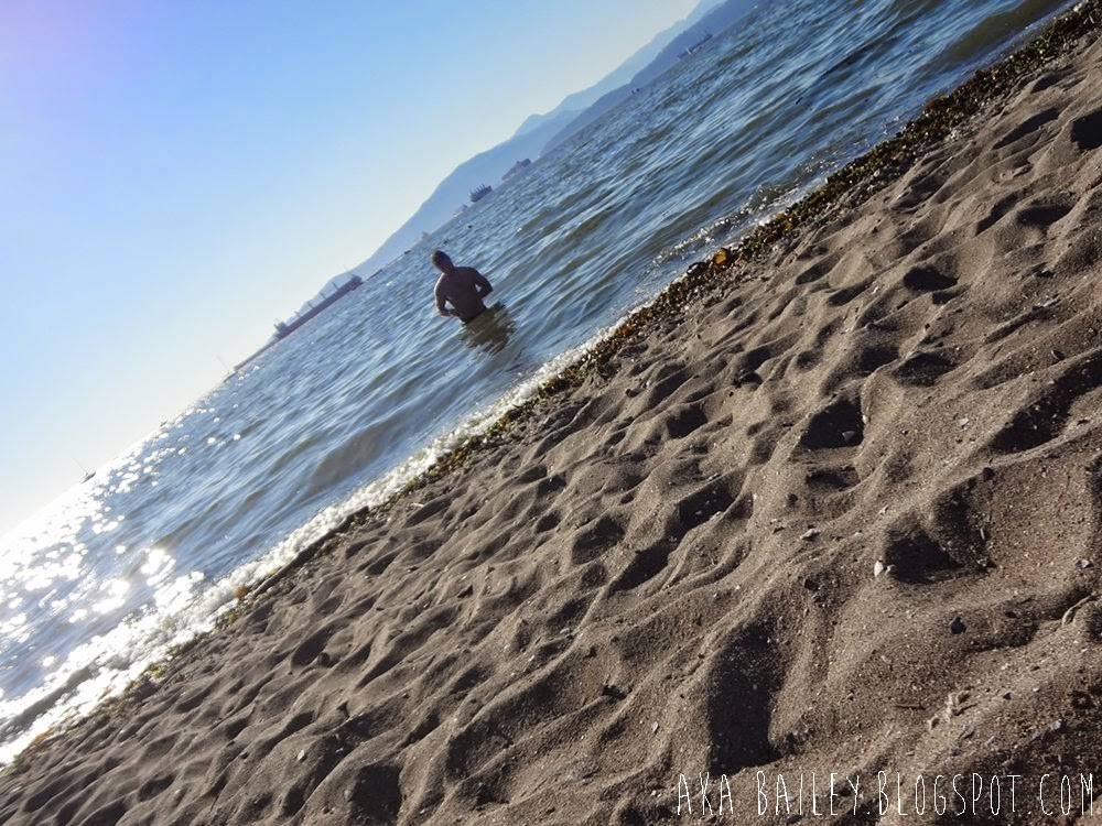 David in the water, English Bay, Kitsilano Beach, Vancouver