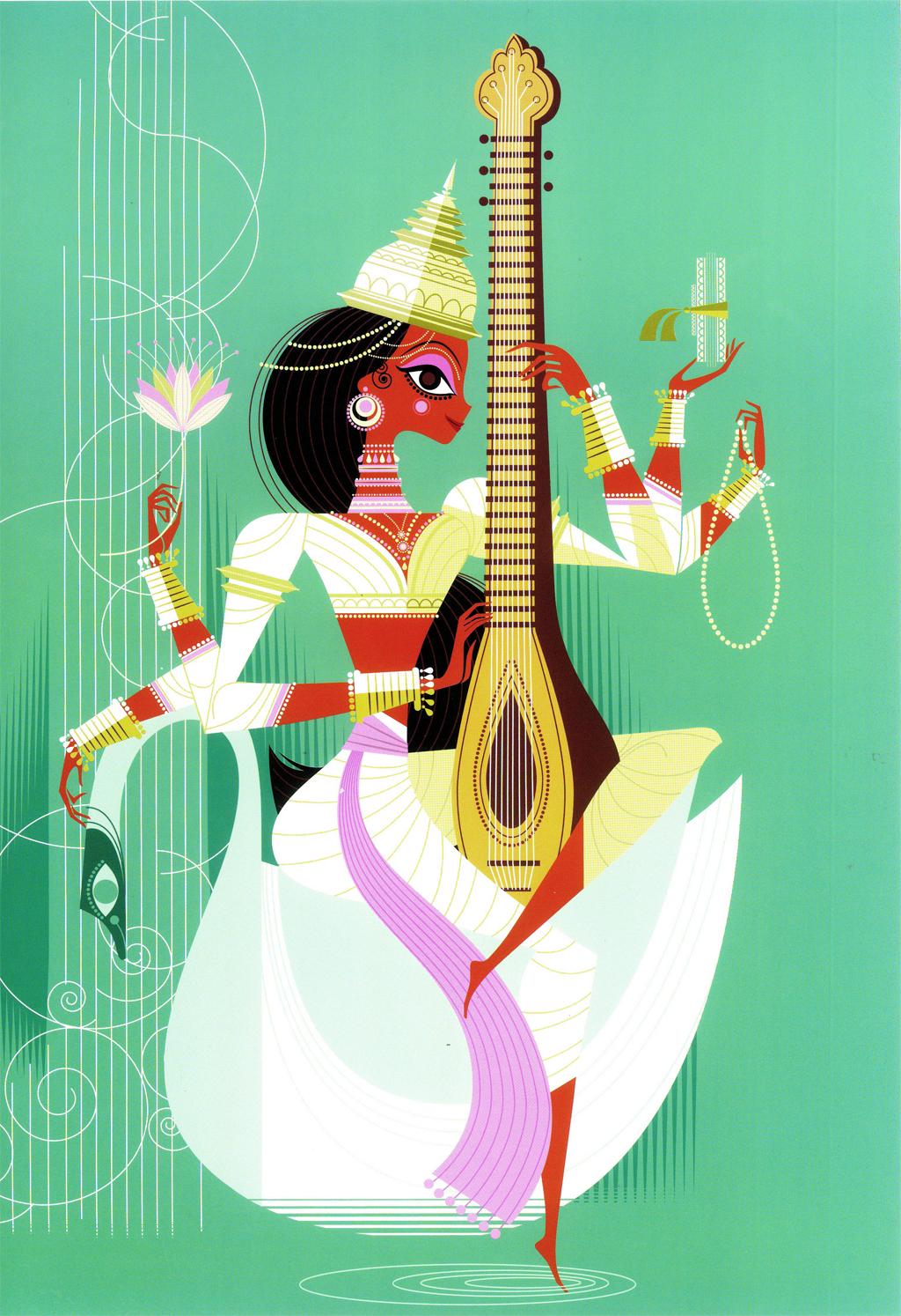 By Sanjay Patel Hindu Goddess Sarasvati
