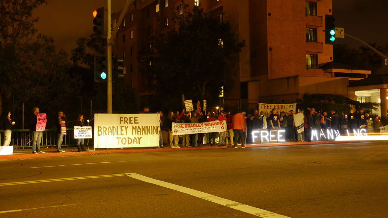 Free Bradley Manning - 1000 Days Without Trial Protest, Hillcrest, San Diego