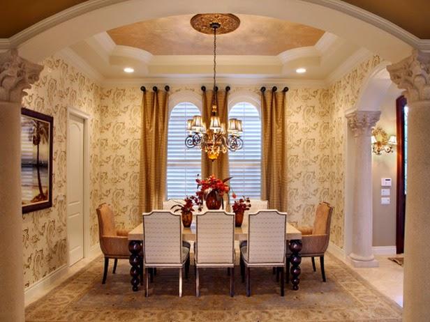 motif wallpaper untuk ruang makan