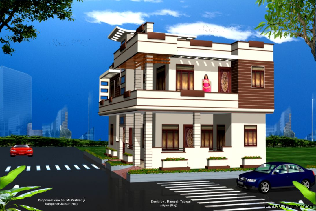 Modern house plans view lot for Modern house view