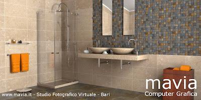 Arredamento di interni: Arredo Bagni moderni - rendering 3d - Bagni in muratura con doppio ...