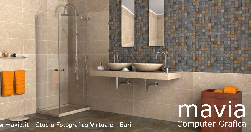 Arredamento di interni arredo bagni moderni rendering 3d bagni in muratura con doppio - Rendering bagno ...