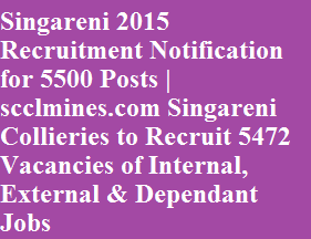 Singareni 2015 Recruitment Notification for 5500 Posts | scclmines.com Singareni Collieries to Recruit 5472 Vacancies of Internal, External & Dependant Jobs
