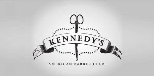Logótipos Vintage - Kennedy's American Barber Club - John Boerckel