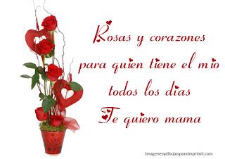 Rosas y corazones  imagenes dia de la madre para imprimir