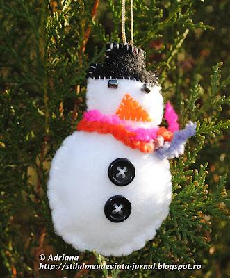 om de zapada din fetru, ornament pentru craciun