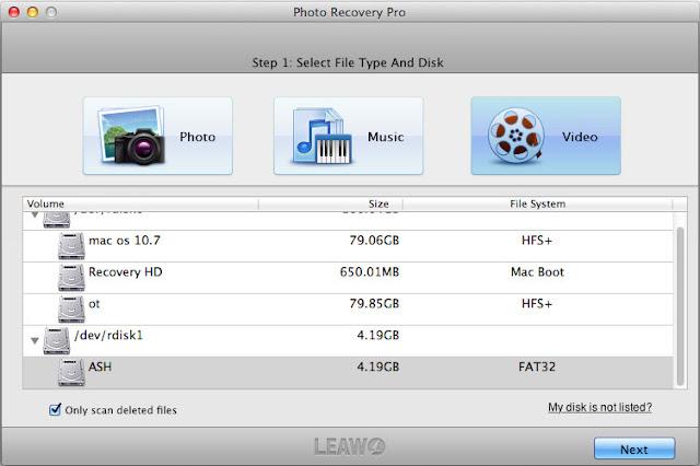 Step 1 choose file type & disk