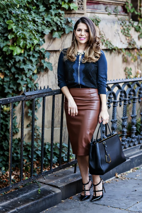Corporate Catwalk; outfit ideas; outfit; how to wear a leather skirt; fendi 2jour, Fendi; Valentino; Valentino Studded Heels; DIY necklace; statement necklace; blue sweater; eather Skirt; leather and lace; NYC Fashion Blogger; pencil skirt; work wear; fashion; fashion blogger