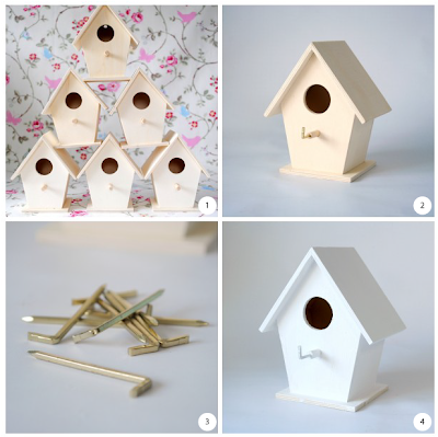 Bird house key hooks steps 1 to 4