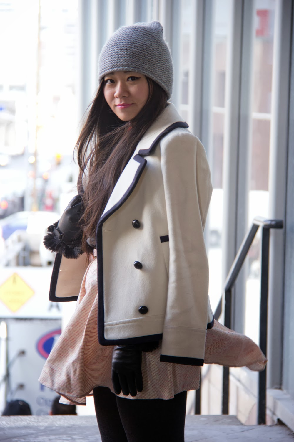 JCrew-Peacoat, Pastel-Pink-Skater-Skirt, LeChateau-Gloves, Pearls-Necklace, Grey-Beanie