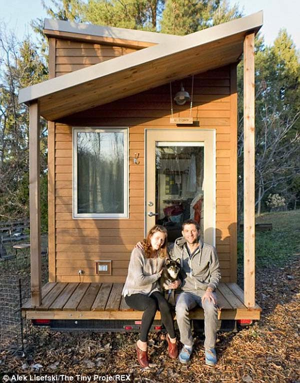 He, his girlfriend Anjali and their dog Anya moved into the tiny house that he built.