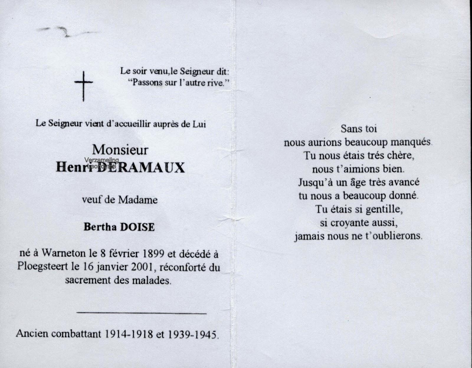 Bidprentje Henri Deramaux 1899-2001. Verzameling Leondyme