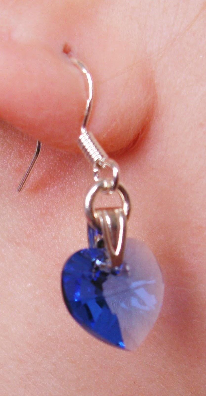 Kimberley Wilson Blue Crystal Heart Drop Pendant Earrings Stirling Silver