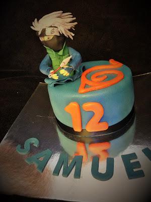 tarta fondant, tarta naruto; tarta decorada; tarta; cumple; naruto; kakashi; cumpleaños