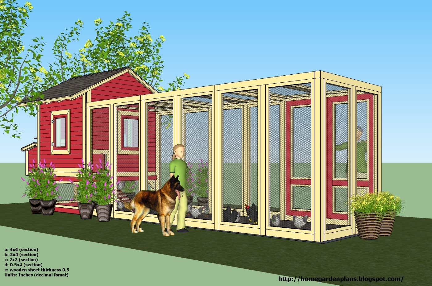 Home garden plans l102 chicken coop plans construction for Chicken coop size for 6 chickens