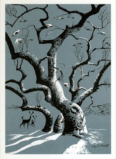 deer in the snow illustration  by Ralph Hulett