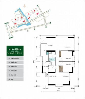 Căn hộ 121,2 m2